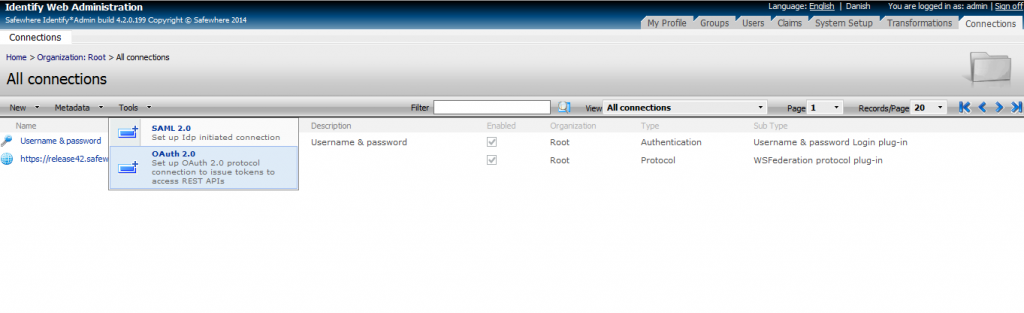 OAuth 2 Create